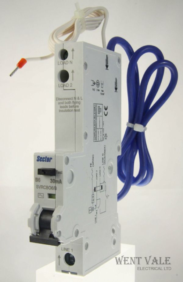 Sector SVRCBO06/B - 6a 30mA Type B Single Pole RCBO Latest Style Unused